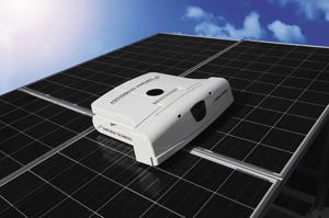 シンフォニアテクノロジー メガソーラー向けに、自律走行式の太陽光パネル清掃ロボット